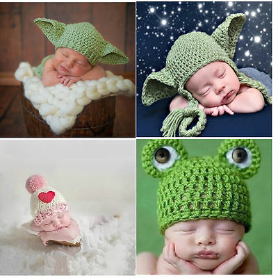 Newborn Baby boys Girls Yoda Crochet Outfits Hat Baby Frog Costume Photo Props