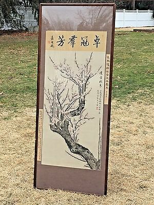 Monumental Signed Japanese Watercolor Scroll Painting of Cherry Blossoms Framed