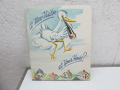 Vintage 1940's Baby Announcement Mechanical Greeting Card Pop Up Stork