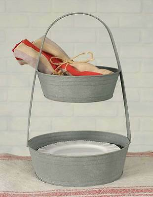 Country barn gray 2 tier metal serving tray / nice centerpiece /counter tray