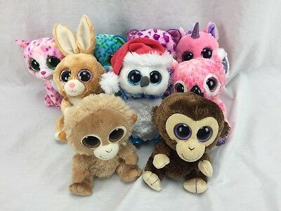 TY BEANIE BOOS LOT of 10 plush toys animals bunny carrots tangerine coconut