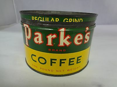 Vintage Parke's Brand Coffee Tin Advertising Collectible Graphics  M-880