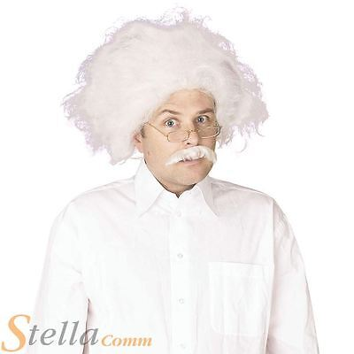 Einstein Wig & Moustache Mad Proffessor Scientist Fancy Dress Costume Accessory