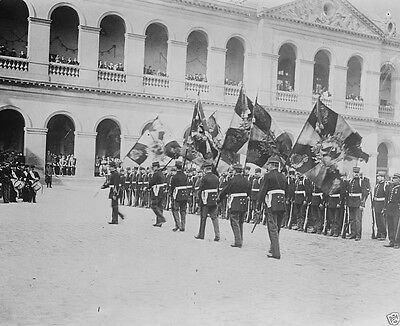Captured German flags paraded in front of Les Invalides World War I 8x10 Photo