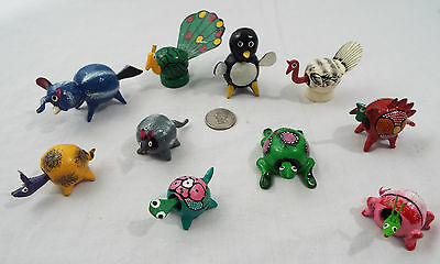 Lot of 10 Assorted Bobble Head Animals Various Colors Penguin Peacock Elephant