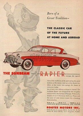 1956 red Sunbeam Rapier coupe de sport Vintage Car Ad MMXV