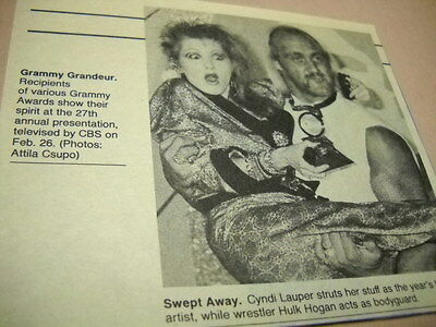 CYNDI LAUPER with wrestler HULK HOGAN original 1985 music biz promo image/text