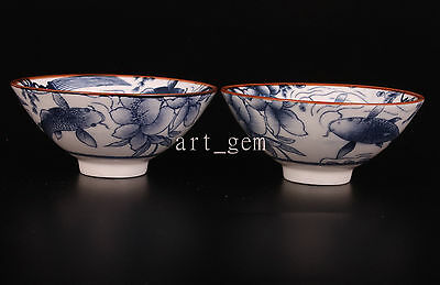 2 Handwork Tea Cups Collectable  High-End Porcelain Lotus Fish Bowl Tea Cups