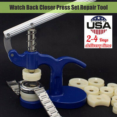 Watch Back Closer Watchmaker Press Set Repair Tool Plastic Case Crystal Glass US