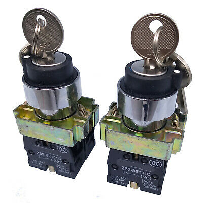 US Stock 2pcs XB2-BG33 Maintained Key 2N/O Select Selector Switch 3-Positions