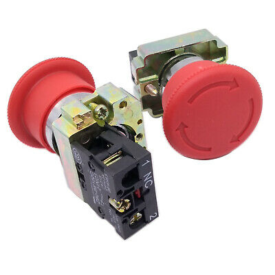 US Stock 2pcs XB2-BS542 RED Mushroom 1NC Emergency Stop Push-button Switch