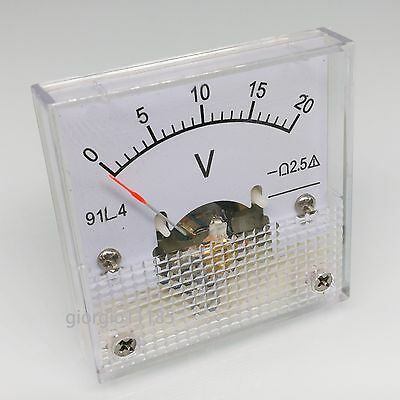 US Stock AC 0 ~ 20V Square Analog Volt Pointer Needle Panel Meter Voltmeter 91L4