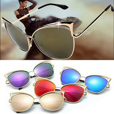 2017 Oversized  Cat Eye Sunglasses Women Fashion Optics Metal Frame Eyewear
