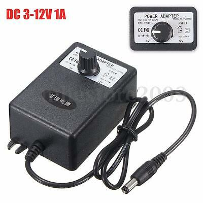 Adjustable AC/DC Adapter 3-12V 1A Power Supply Motor Speed Controller US Plug