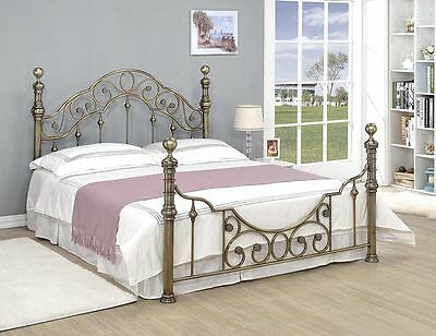 50% OFF- Luxury Stylish Brass Metal Bed Frame Vintage Antiqued Double King Size