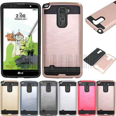 Hybrid Hard Armor Brushed Case Shockproof Cover For LG Stylus Stylo 2 Plus MS550