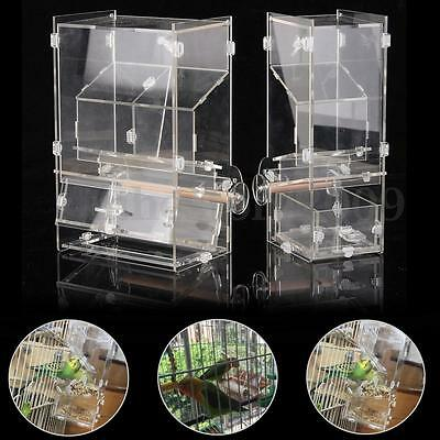 Acrylic Pet Parrot Bird Finches Automatic Cage Feeder 6Size Single/Double Hopper