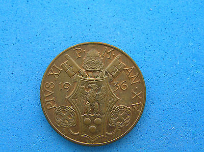 1936 XV Vatican 10 Centesimi Coin, UNC brown with trace red color, KM#2, 22.5 mm
