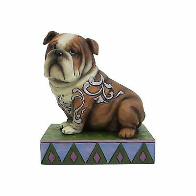 New JIM SHORE Figurine ENGLISH BULLDOG Heartwood Creek Statue PUPPY DOG Folk Art