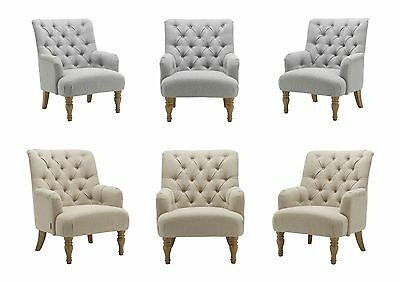 Birlea Padstow Armchair Button Back Occasional Fabric Chair - Grey or Wheat