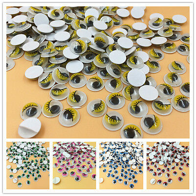 diy100pcs 10mm Mix Color Eyelashes Wiggly Wobbly Googly Eyes Scrapbooking Crafts