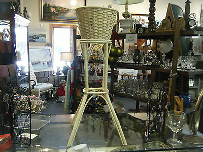 Vintage Antique Wicker Plant Stand Planter Ivory Colored -Will Ship