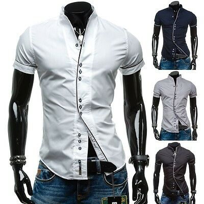 BOLF Herren Freizeithemd Kurzarm Hemd Herrenhemd Slim Shirt Party Mix 2B2 Casual