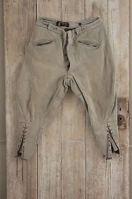 Vintage French pants Riding hunting 37 Waist gray work wear chore old trouser
