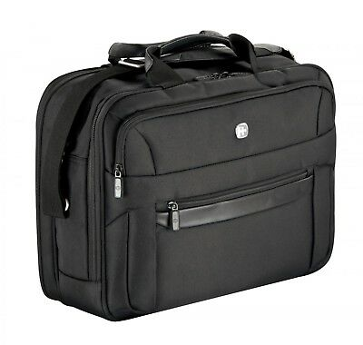 "WENGER Business Basic Double Compartment Briefcase 16"" Tasche Aktentasche Black"