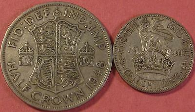 Great Britain Coins (X's 2) Shilling 1940 (Nice Detail) 1/2 Crown 1948 <>Br917