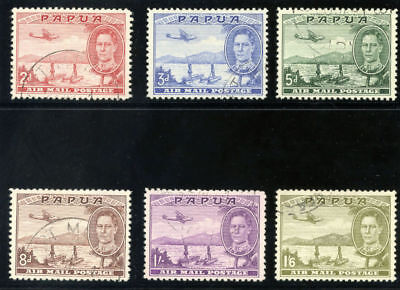 Papua 1939 KGVI Air Issue set complete very fine used. SG 163-168. Sc C10-C15