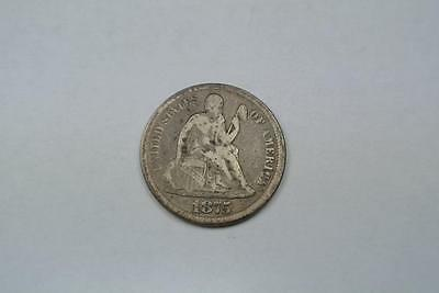 1875-CC Seated Liberty Dime, Above Bow, A. Fine Condition - C2772