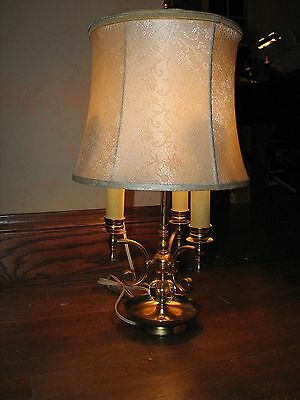 PRICE REDUCED Vintage, Antique BRASS &GLASS 3 ARM FRENCH BOUILLOTTE LAMP