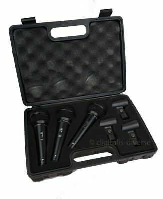 Soundlab Set of 3 Dynamic Vocal Microphones Ultravoice Karaoke Mic With Case DJ