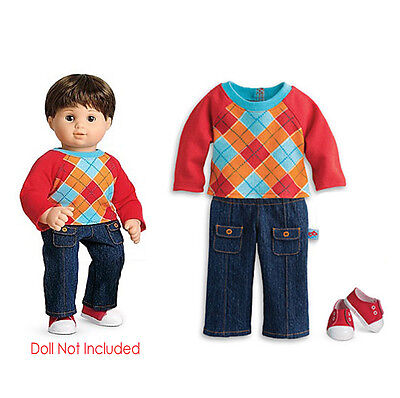 "American Girl BT BITTY TWIN RED ARGYLE OUTFIT for 15"" Baby Doll Shoes NEW In Box"