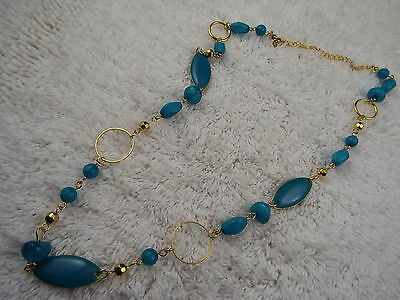 Goldtone Blue Bead Chain Necklace (C37)