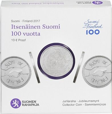 "2017 Finland 10 Euro Silver Proof Coin ""Independant Finland 100 Years"""