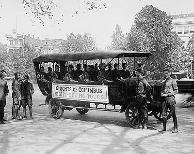 Knights of Columbus sightseeing tour bus for soldiers World War I Photo Print