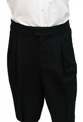 Mens Black Traditional Prom Tuxedo Trousers 100% Wool Pants Choose Your Size