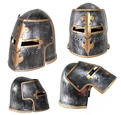 Silver Pewter Knight Roman Armor Crusader Helmet Mask Medieval Adult Costume