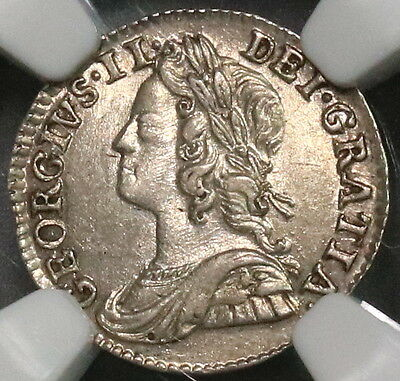 1743/0 NGC AU 58 George II Silver 2 Pence POP 1/3 GREAT BRITAIN Coin (16111010C)