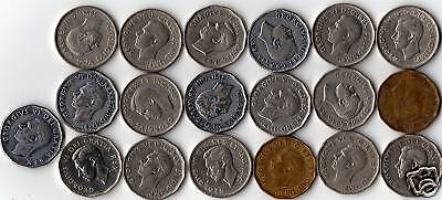 Rare Canada Complete Year Set Of 19 King George VI Era 5 Cent Coins 1937 To 52.