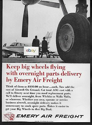 Emery Air Freight 1966 Keep Big Wheels Flying With Overnight Parts Delivery Ad