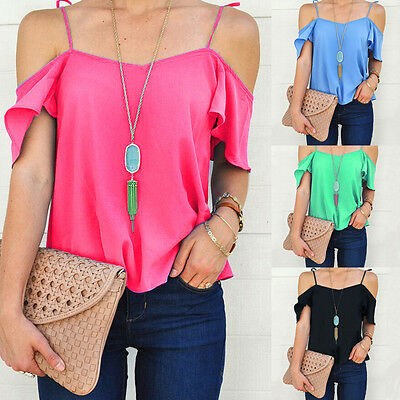 Fashion Women Summer Loose Top Off Shoulder Blouse Ladies Casual Tops T-Shirt JN