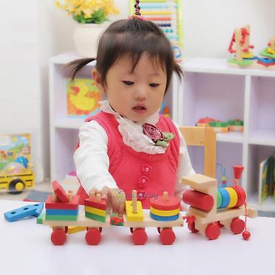 Educational Kid Baby Wooden Solid Wood Stacking Train Toddler Block Toy Gift DIY