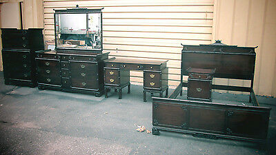 54895 Antique Mahogany Bedroom Set Bed Dresser Mirror Nightstand High Chest