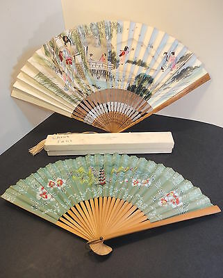 Pair Japanese Fans Bailey, Banks & Biddle Antique Vintage one has window