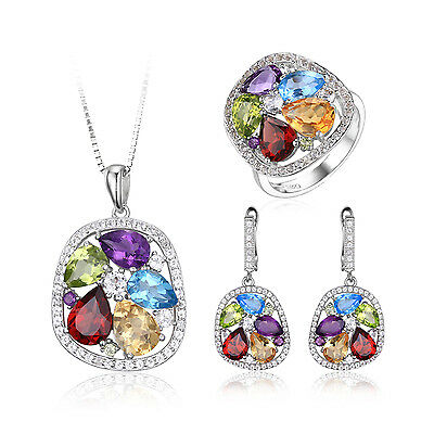 Natural Amethyst Garnet Peridot Blue Topaz Jewelry Sets 925 Sterling Silver Sold