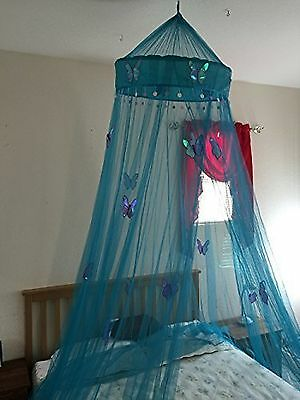 Butterfly Bed Canopy Mosquito NET Crib Twin Full Queen King (Teal Blue)