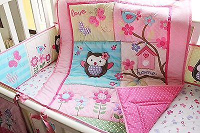 Pink Owl Bird 7pcs crib set Baby Bedding Set Crib Bedding Set Girl Boy Nurser...